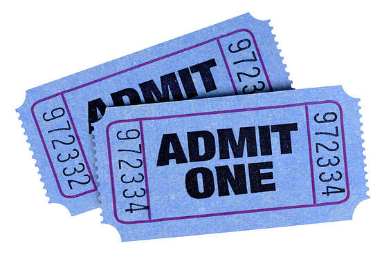 Two blue admit one tickets isolated on a white background.